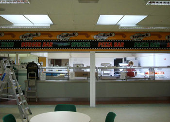 Pizza bar in a local school in derby