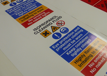 building site protection labels being printed